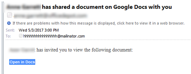 Sample Google Docs Phishing Email